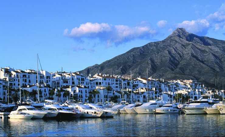 """Panoramic view of banus port, located in the famous town of marbella"""