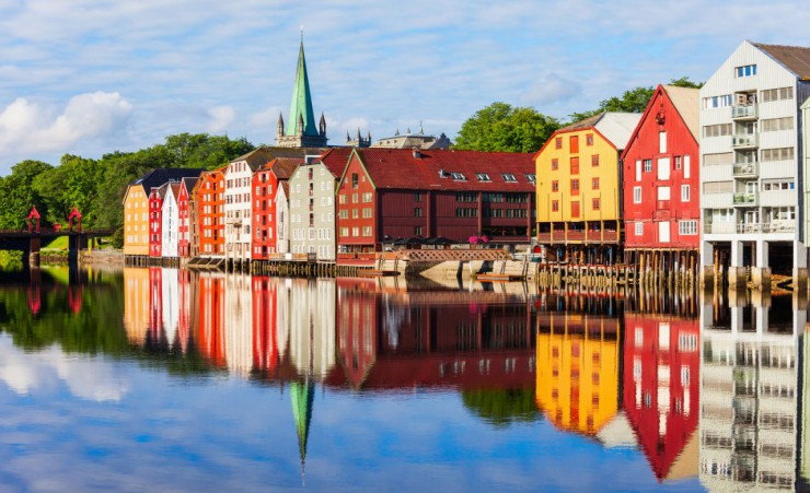 """Nidelva River Embankment In Trondheim"""