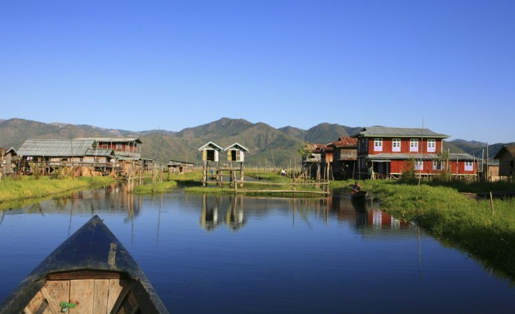 """Stilt houses on Inle Lake"""