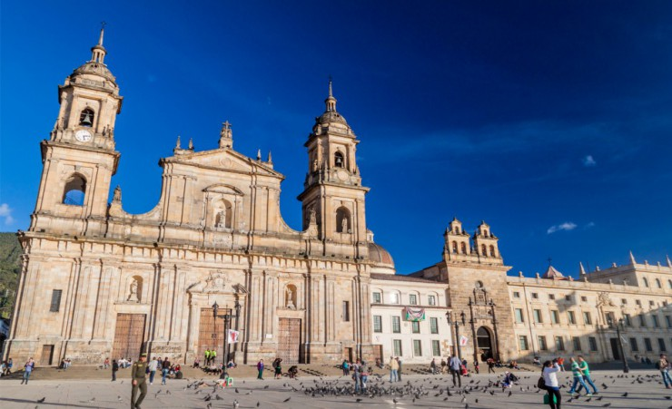 """Cathedral On Bolivar Square In Bogata"""