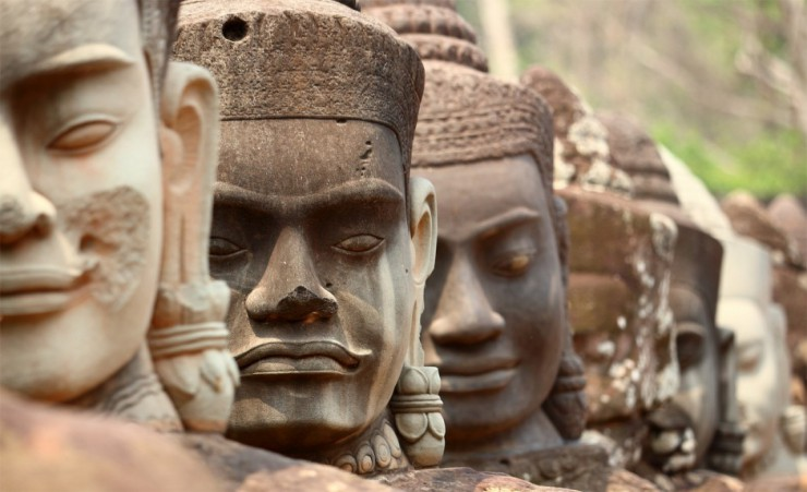 """Carved Heads At Angkor Thom"""