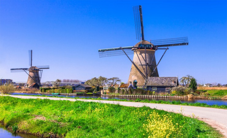 """Traditional Windmills In Holland"""
