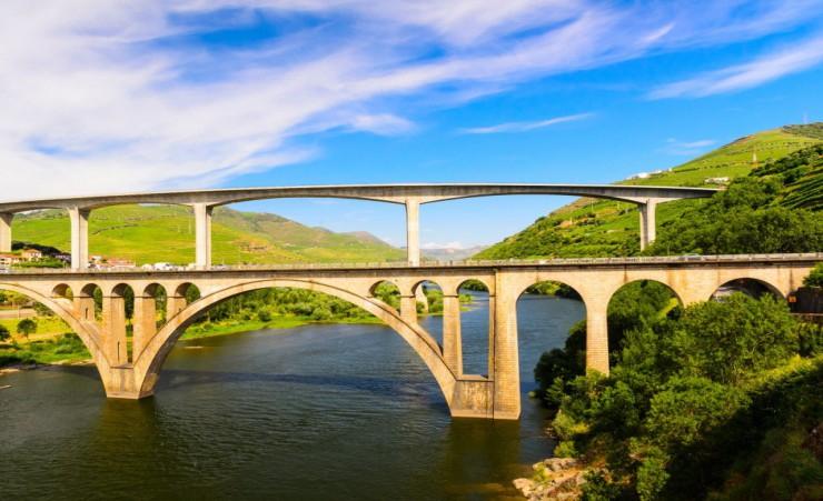 """Bridge Over The Douro Near Peso Da Regua"""