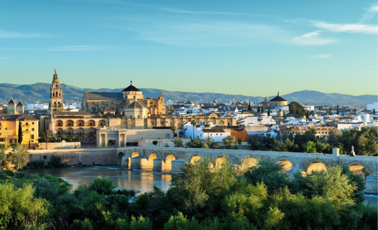 """Cathedral And Romano Bridge In Cordoba"""