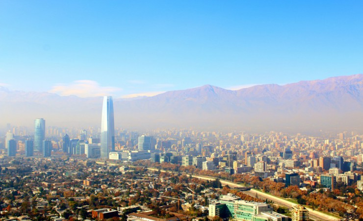 """Santiago With Andes Mountains In Background"""