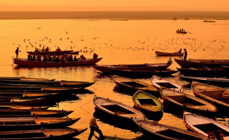 """Boats On The Ganges At Varanasi"""