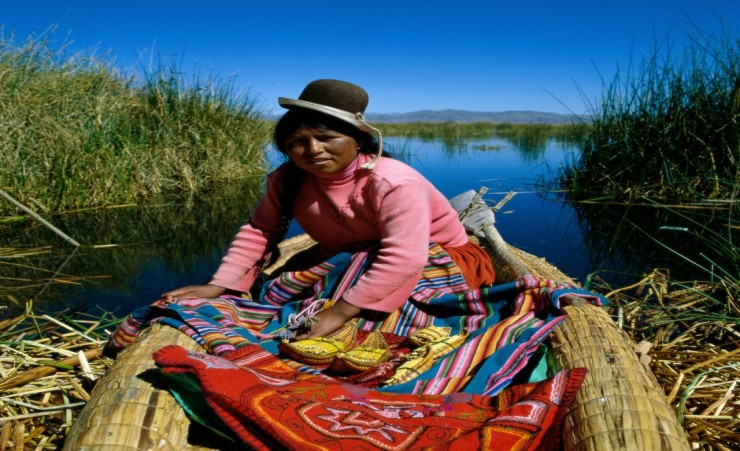 """Uros Indian Woman On Lake Titicaca"""