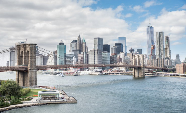 """Brooklyn Bridge And Manhattan Skyline   New York City"""
