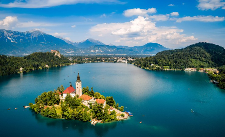 """Aerial Of Lake Bled"""