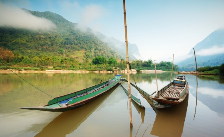 """Traditional Boats On The Mekong River Laos"""