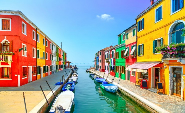 """Colourful Burano Canal Venice"""
