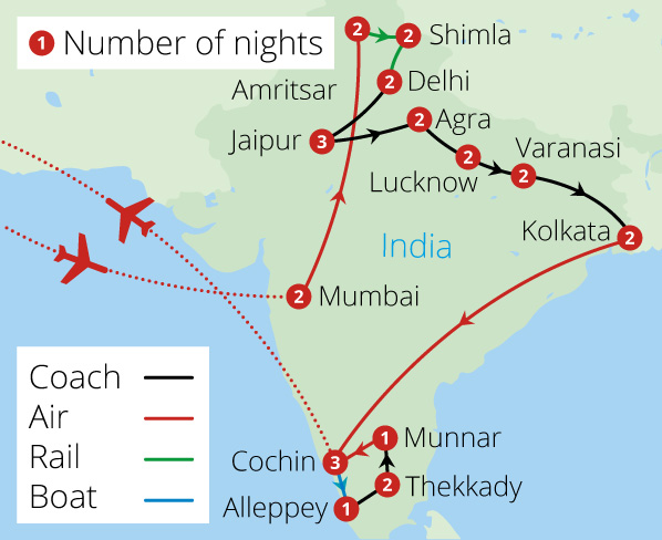 A Passage Through India Route Map