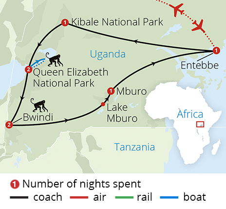 Great Gorillas of Uganda Route Map