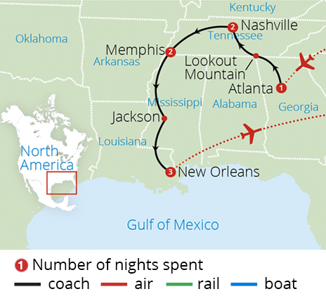 Americas Deep South 2018 Route Map