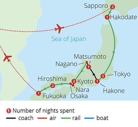 Grand Tour of Japan Route Map