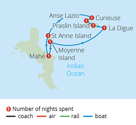 Seychelles Discovery Cruise Route Map