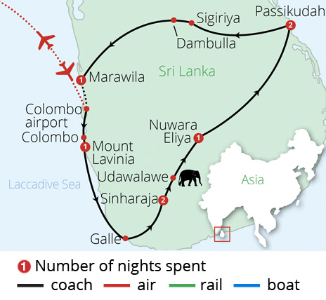 Secrets of Sri Lanka Route Map