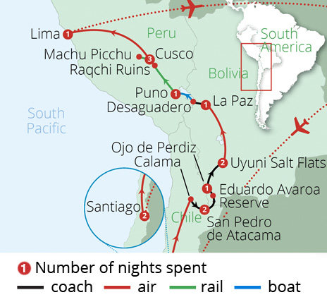 Chile Bolivia and Peru Route Map