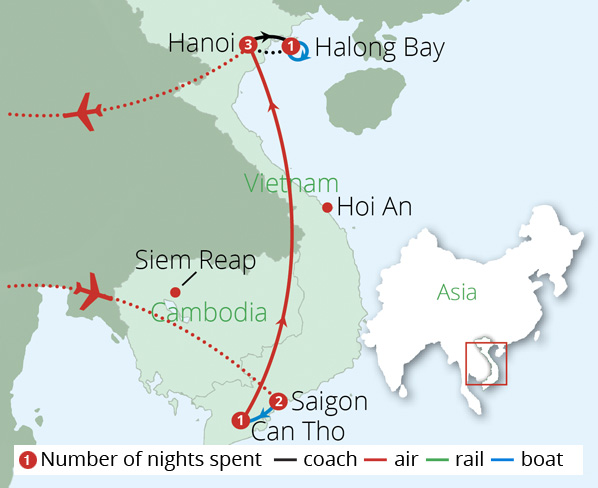 Impressions of Vietnam Route Map