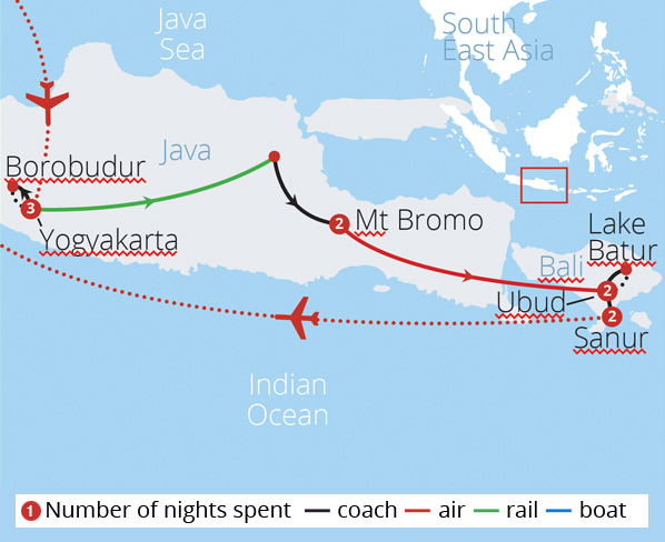 Indonesia's Java and Bali Route Map