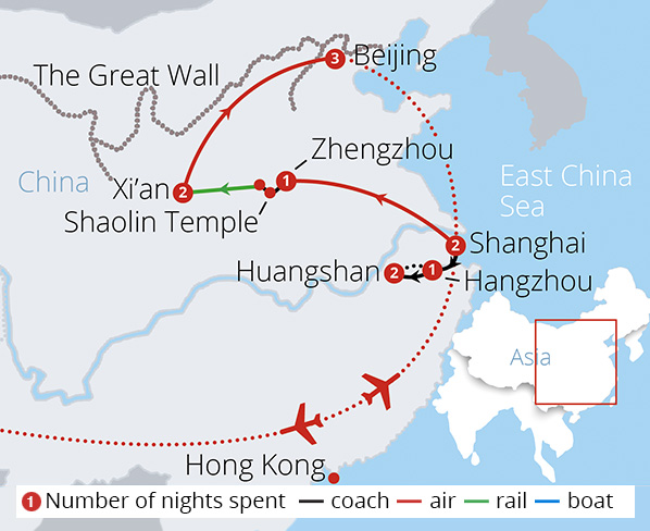 Highlights of China and Beyond Route Map