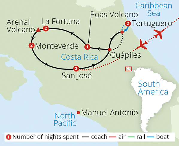 Captivating Costa Rica 2018 Route Map