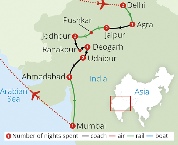 A Royal Indian Odyssey Route Map