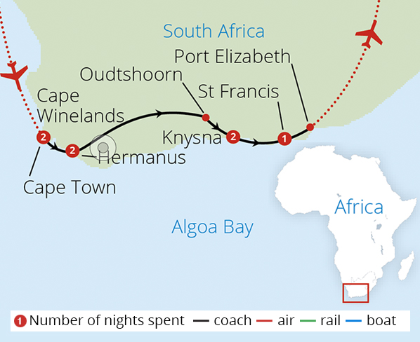 Winelands and Garden Route Route Map