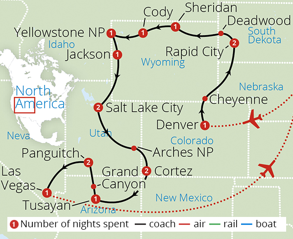 National Parks of America Route Map