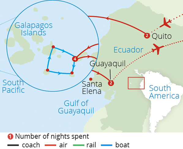 Ecuador and the Galapagos Islands 2018 Route Map