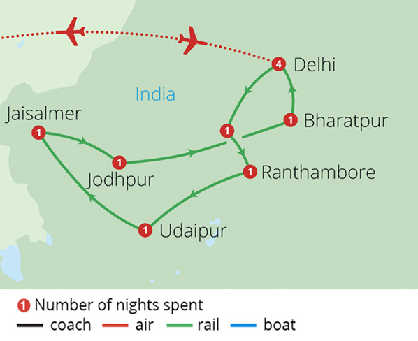 India's Palace on Wheels Route Map