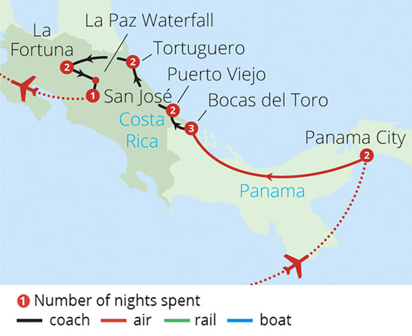 Costa Rica and Panama Route Map