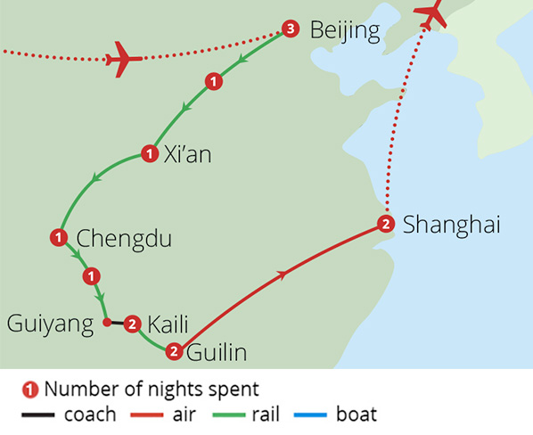 Splendours of China by Rail Route Map