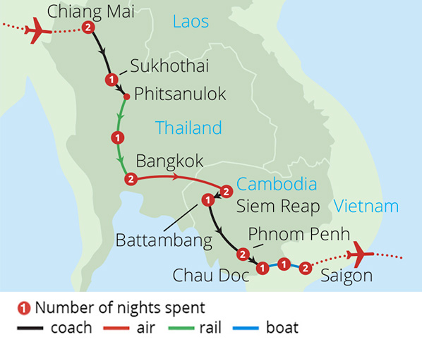 Thailand, Cambodia and Vietnam Route Map
