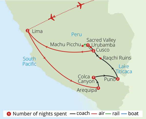 Sacred Peru for Solo Travellers Route Map