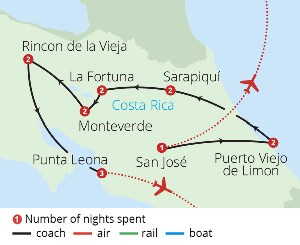 Coast to Coast in Costa Rica Route Map