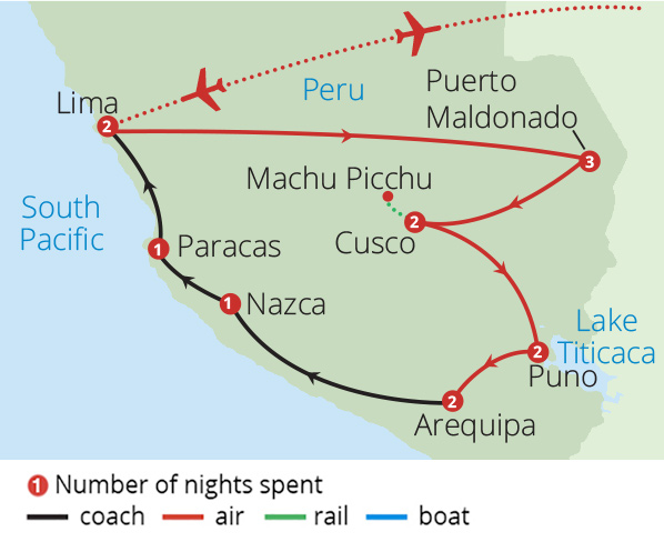 The Very Best of Peru Route Map