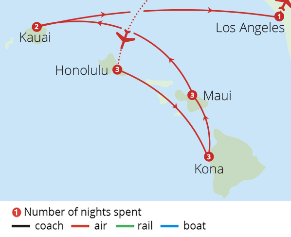 Hawaii Pearl of the Pacific Route Map