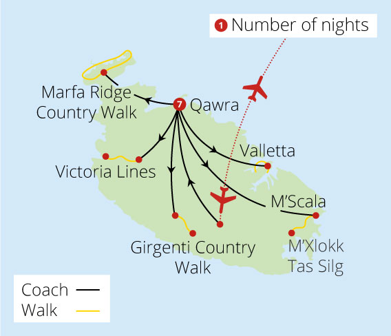 Rural and Historic Paths of Malta Route Map