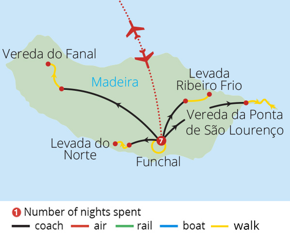 Walking Madeira's Levadas Route Map