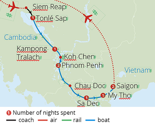 Cruising the Magnificent Mekong Route Map