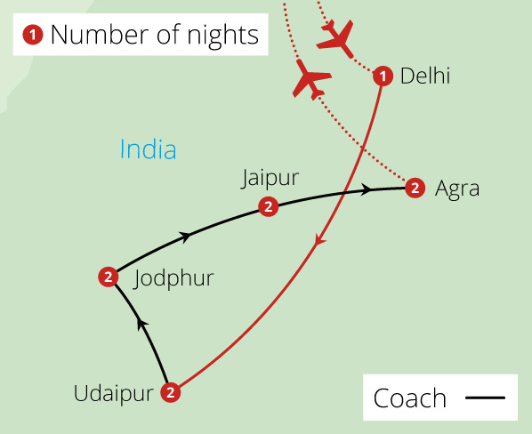 Beyond India's Golden Triangle for Solo Travellers Route Map