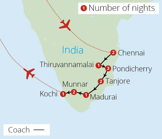 Sacred South India Route Map