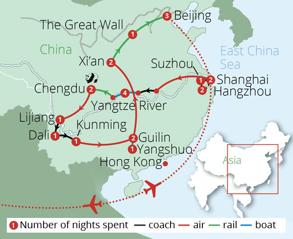 Grand Tour of China Route Map