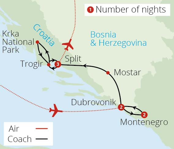Croatia and Montenegro Route Map