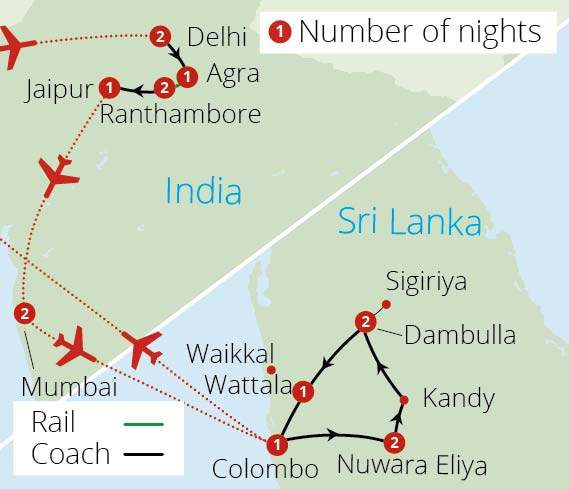 India and Sri Lanka Adventure Route Map