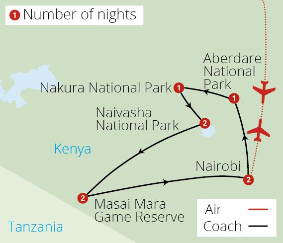 Kenyan Safari Route Map