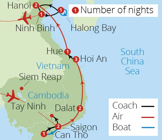Splendours of Vietnam 2019 Route Map