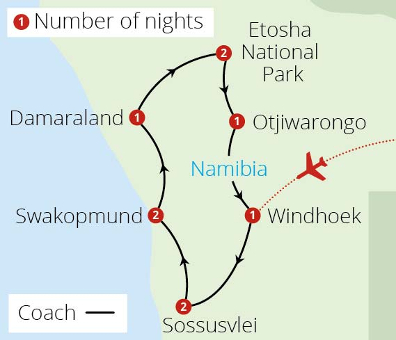 Namibia Uncovered Route Map