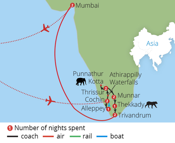 Explore Kerala and Mumbai from Manchester Route Map
